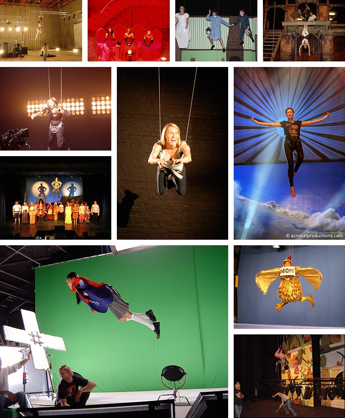 Photos of manual performer flying effects
